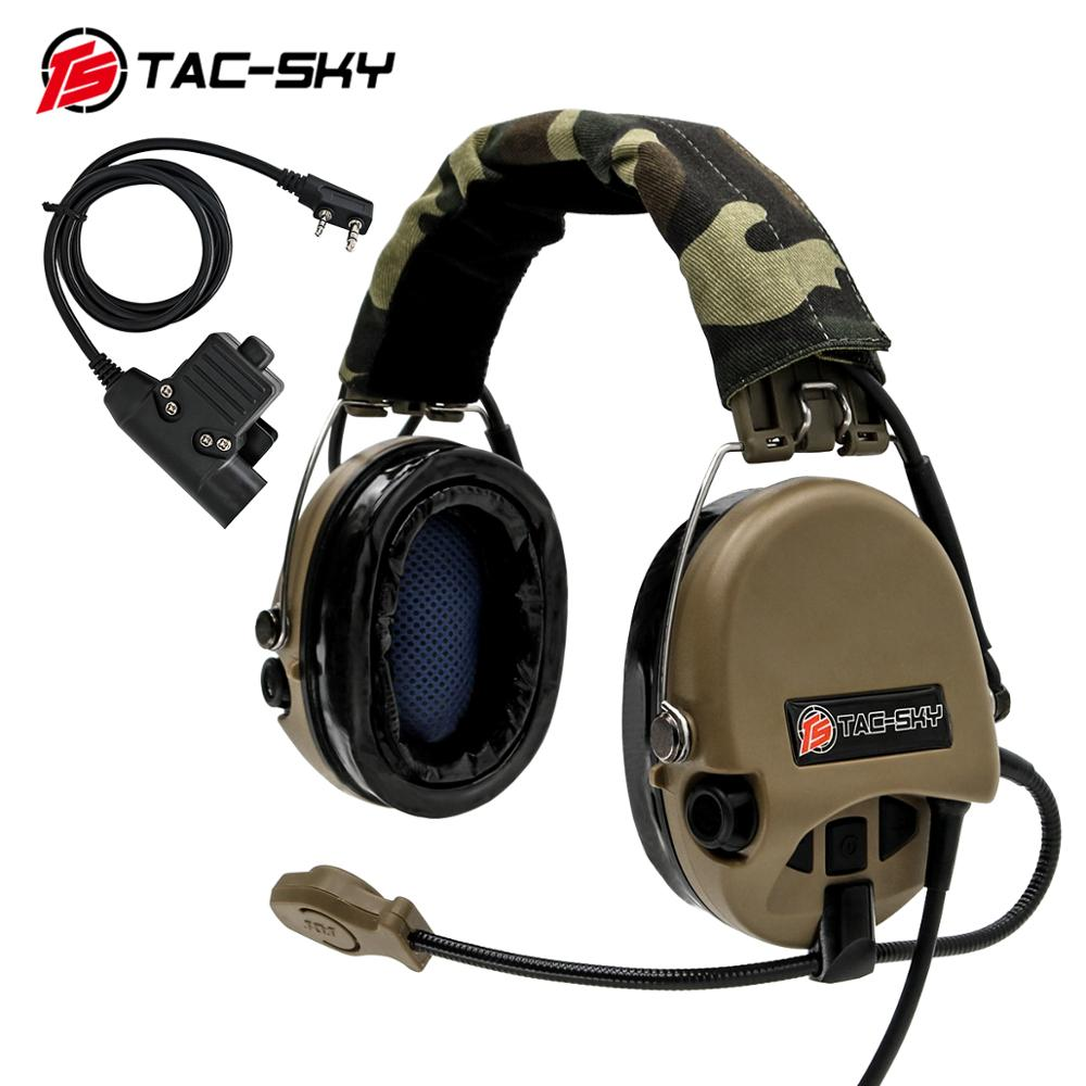 TAC-SKY Tactical Airsofte SORDIN Silicone Headphones Hunting Noise Reduction Shooting Headphones and Military Adapter U94 PTT DE