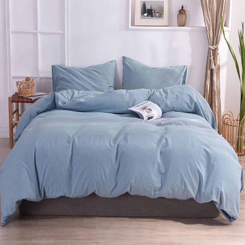 طقم غطاء لحاف من القطن الخالص باللون الأزرق الفاتح ، طقم غطاء سرير بحجم كينج وكوين للبيع