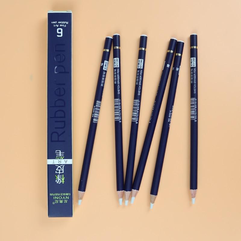 Lápiz de goma para borrar, lápiz, punta, goma, tipo 6 unids/set, borrador de lápiz de alta precisión para Manga, artículos de arte destacados N2810