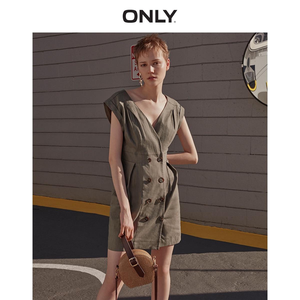 Только женское льняное платье с v-образным вырезом   119207515