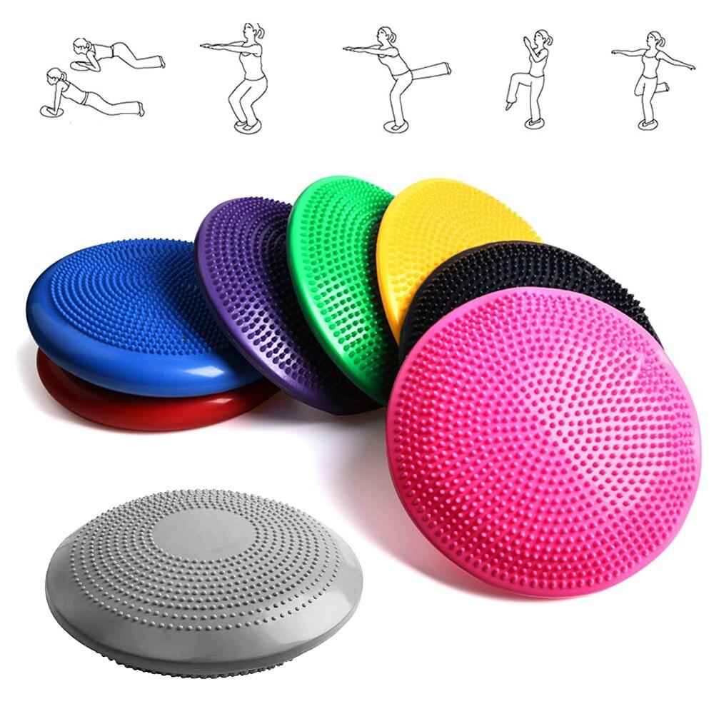 33CM Yoga Balance disco inflable Yoga masaje bola Durable Universal Fitness Yoga estabilidad equilibrio disco masaje cojín Mat