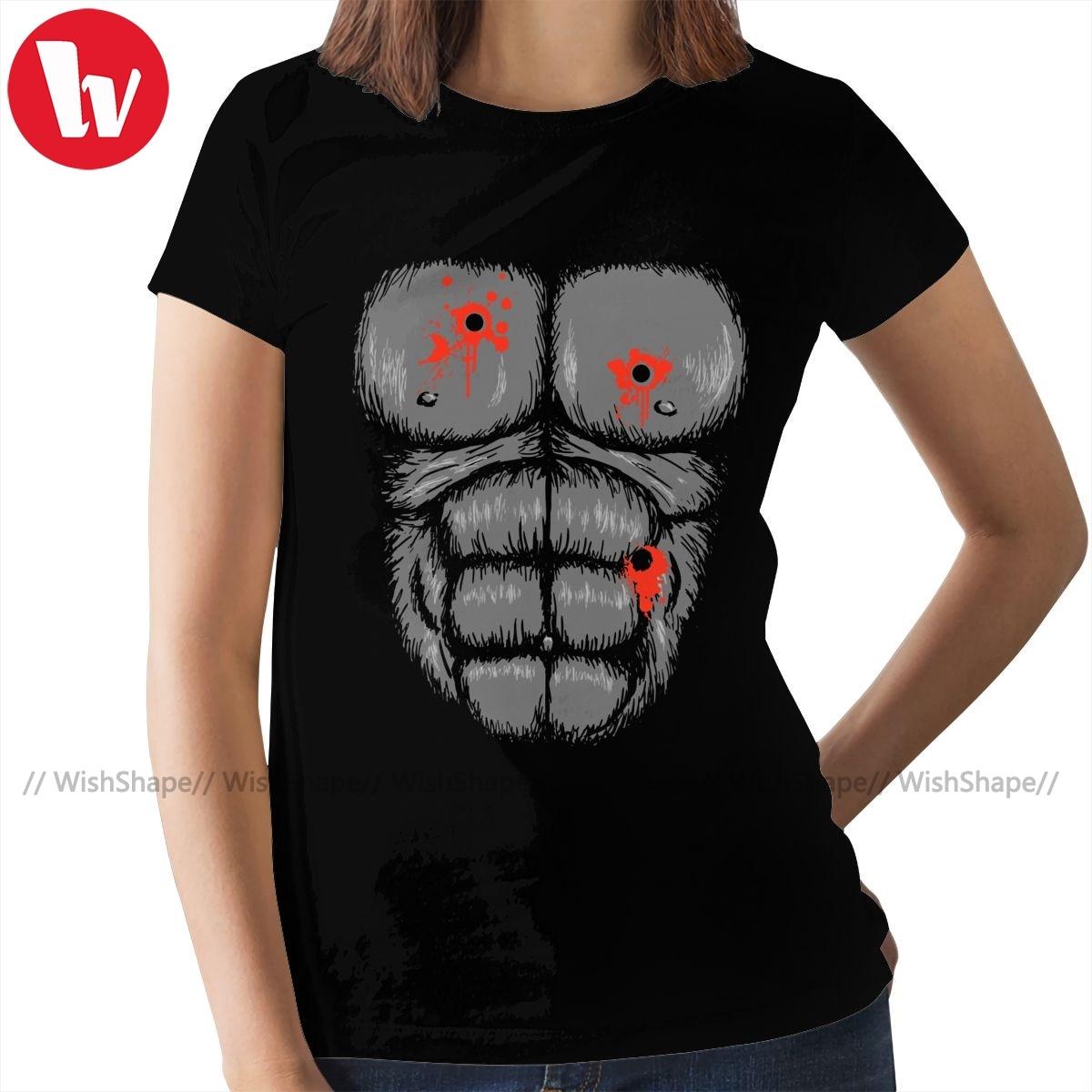 Camiseta de gorila Harambe, disfraz de Halloween, camiseta informal de talla grande para mujer, Camiseta de cuello redondo para mujer