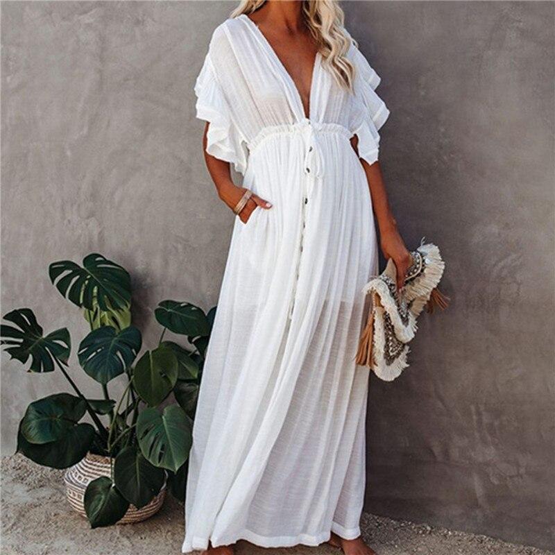 AliExpress - Sexy Bikini Cover-ups Long White Tunic Casual Summer Beach Dress Elegant Women Beach Wear Swim Suit Cover Up