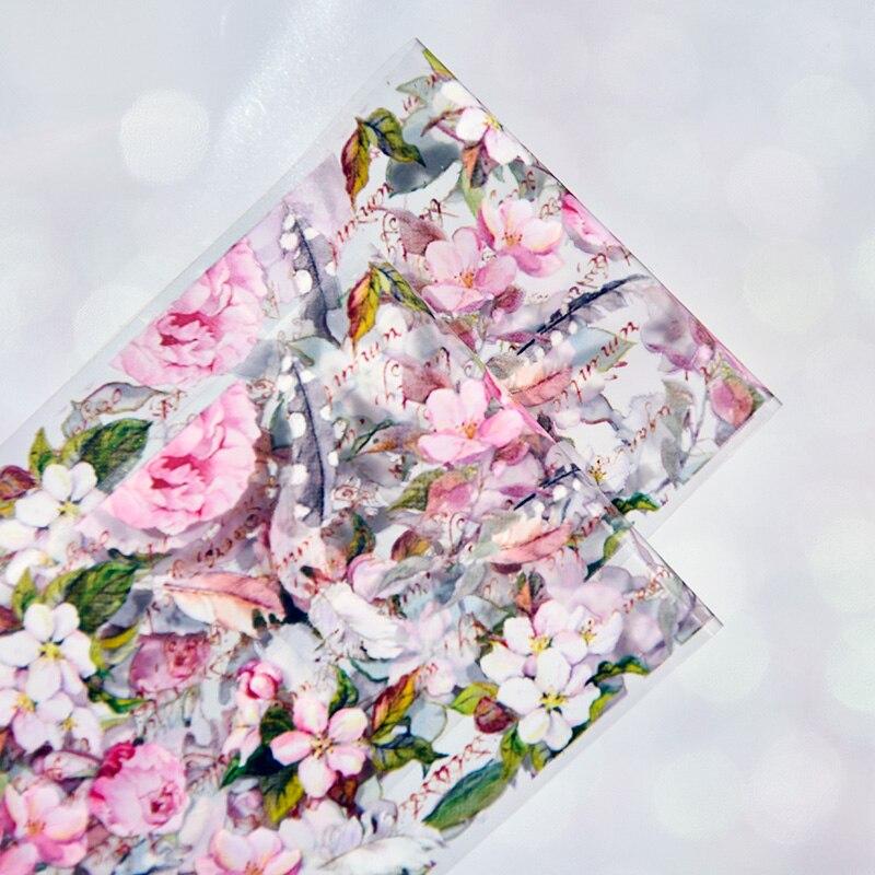 Láminas adhesivas para estampación de uñas, 1 caja de 10 rollos de 4x100cm con flores variadas, diseño de hojas de Rosa y pájaro, láminas decorativas para decoración de uñas