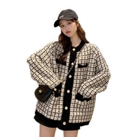 autumn 2020 new sweater coat retro shirt check long sleeve single breasted plaid loose knit cardigan tide ladies