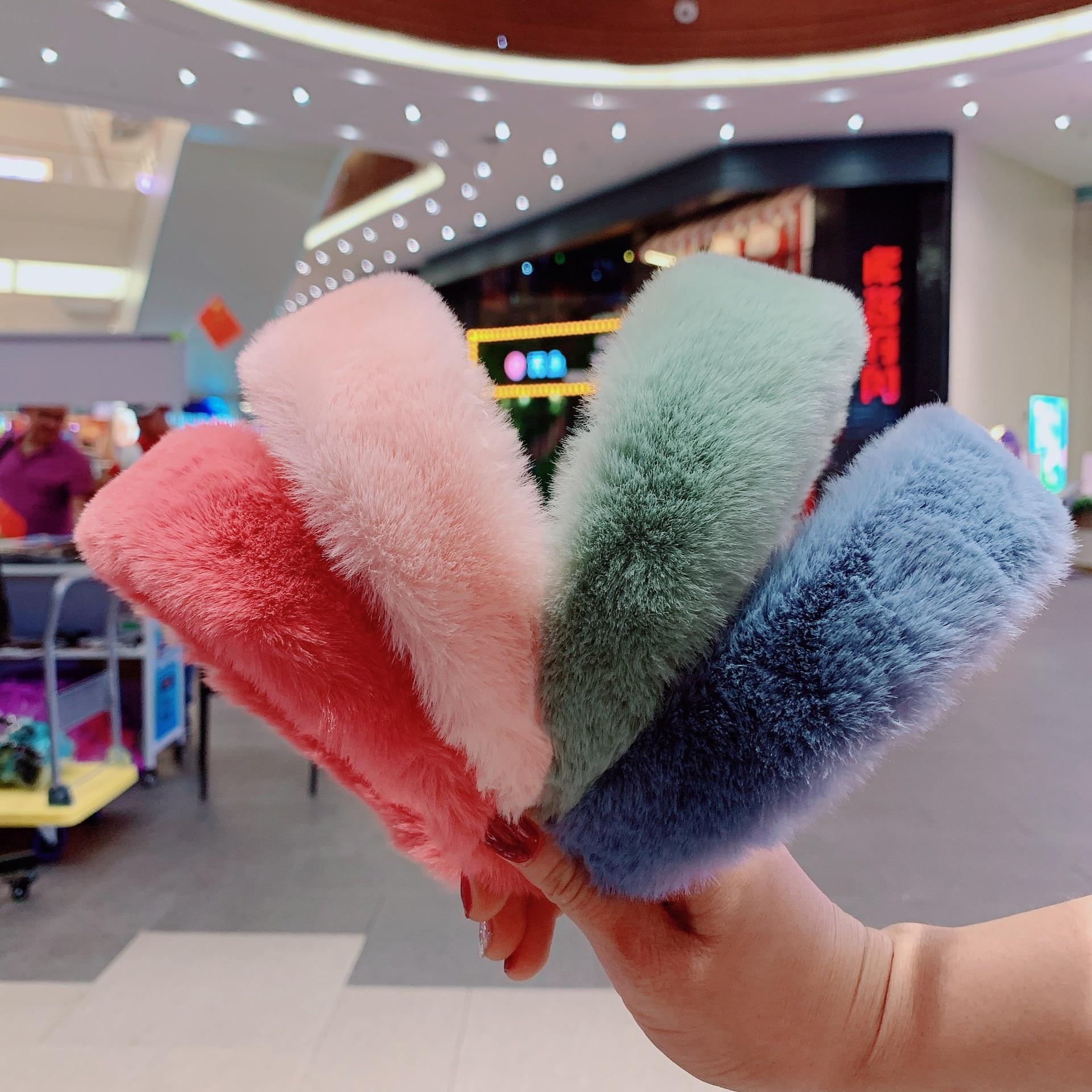 Xugar Sweet Retro Elegant Faux Fur Plush Hairbands For Women Winter Warm Hair Hoop Girls Solid Hair Accessories