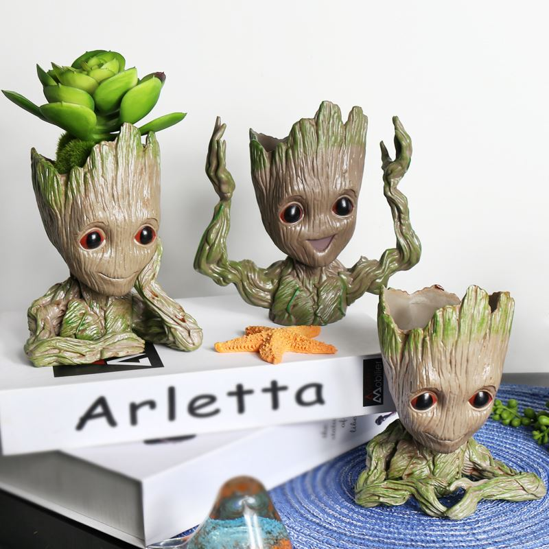 Groot Flowerpot Cute Model Figure Toy Pen Pot Flower Pot Planter Figurines Tree Man Garden Planter G