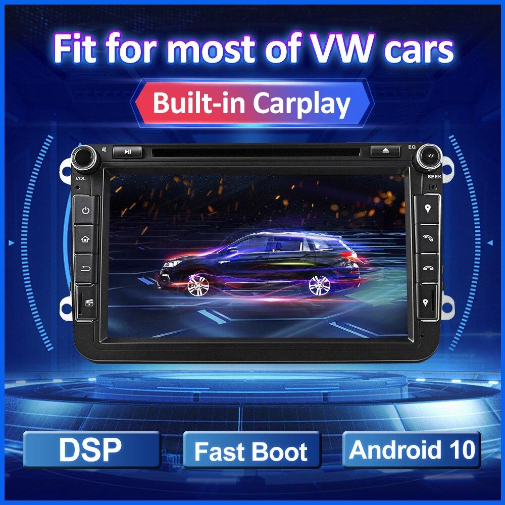 2 Din Android autoradio pour VW Golf Polo Tiguan Passat b7 b6 siège Skoda Octavia multimédia 8 écran intégré voiture lecteur DVD GPS