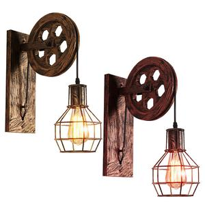 Retro Wall Lamp E27 Non-fade Pulley Design Industrial LED Light For Restaurants, Study Rooms, Coffee Shops, Bars, Etc