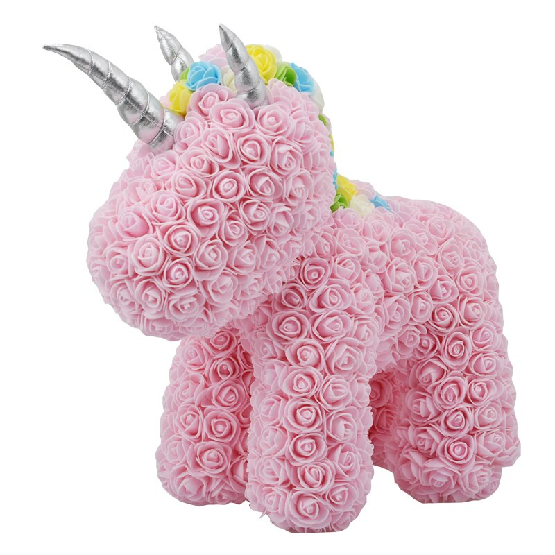 AINYROSE-صندوق هدايا وردي من رغوة الصابون الاصطناعية ، وحيد القرن ، زهور وهمية ، لحفل الزفاف ، لعيد الحب ، للفتيات