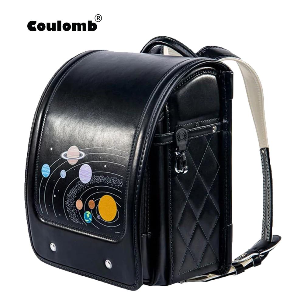 Coulomb Children Black Backpack For Boy School Bag  Hasp Character Orthopedic Randoseru Japanese  Bags PU Kid Backpacks Size S