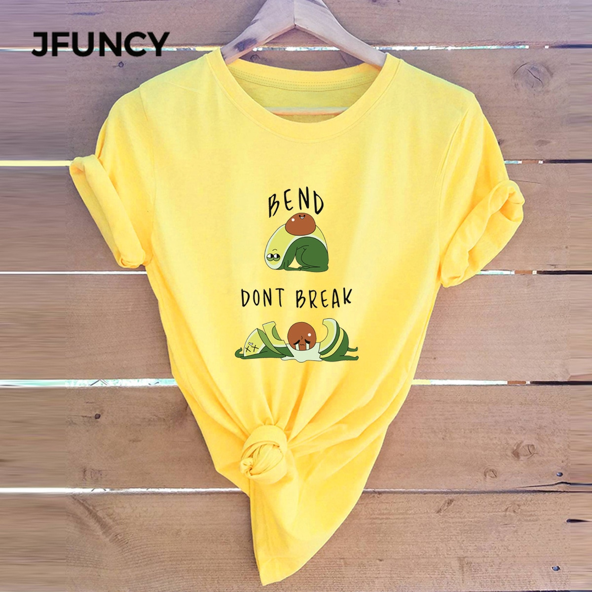 JFUNCY Nette Avocado Cartoon Gedruckt Baumwolle Sommer T-shirt Plus Größe Frauen T-shirt Casual Kurzarm Mujer Shirts Frau T Tops