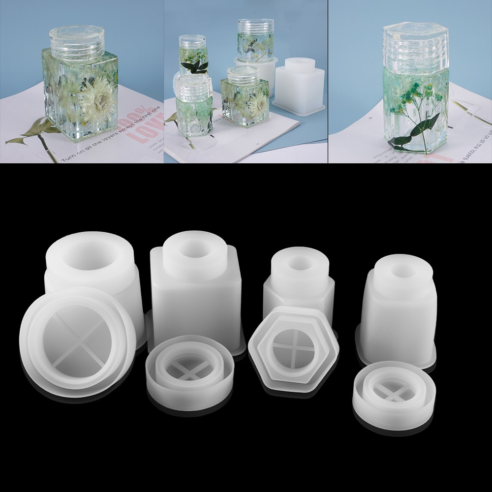 1pcs Crystal Epoxy Resin Mold Polygon Bottles Mould Cuboid Round Column Box For DIY Jewelry Making Findings Supplies Accessories