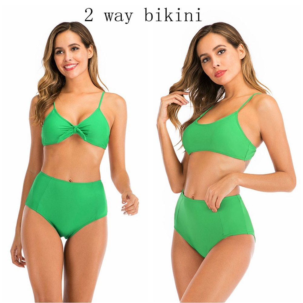 2020 dos maneras de usar Bikini push up traje de baño de cintura alta Mujer de talla grande S-XXL traje de baño Tankini mujer Maio Biquini Badpak damas