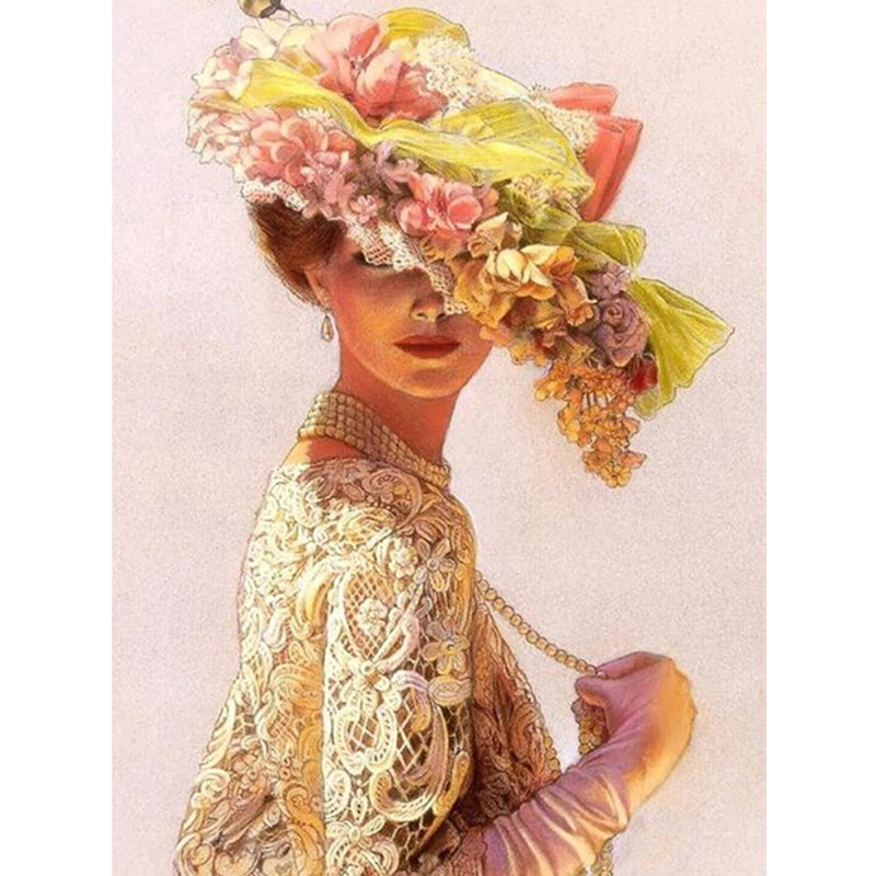 Retrato para pintar con diamantes sombrero de mujer bordado de diamantes belleza pintura de diamantes punto de cruz decoración de mosaico de diamantes de imitación