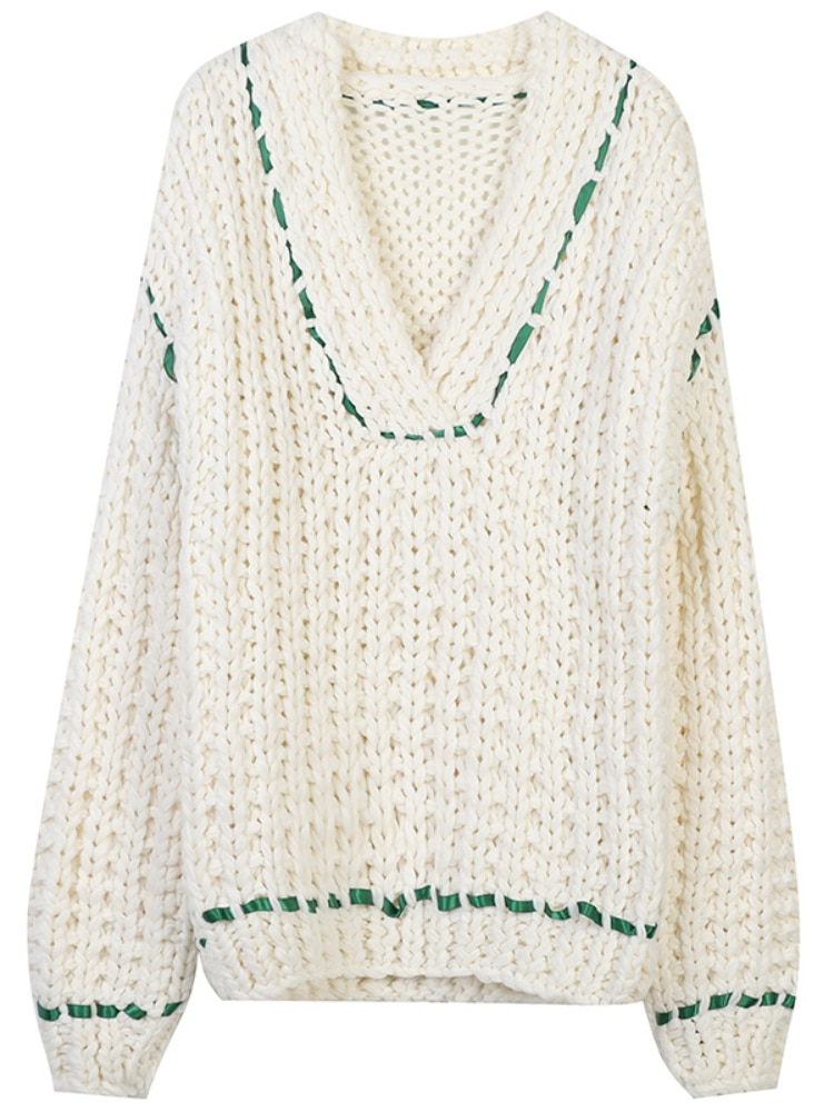 SHUCHAN Hollow Out Knit Sweater Women Coarse Yarn Casual  Japan Style  V-Neck  Fall Clothes for Women 2021 Fashion Sexy enlarge
