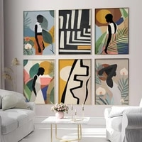geometric abstract girl minimalistwall art canvas painting nordic posters and prints wall pictures for living bedroom decoration
