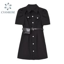 Gothic Black Button Shirt Dresses Women Punk Style Turn-Down Collar Short Sleeve Mini Dress High Wai