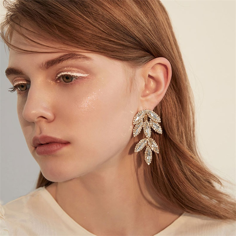De moda de lujo de oro de Zirconia cúbica pendiente para las mujeres cristal pendientes de boda para novia regalo de aniversario de 2019 Nueva joyería