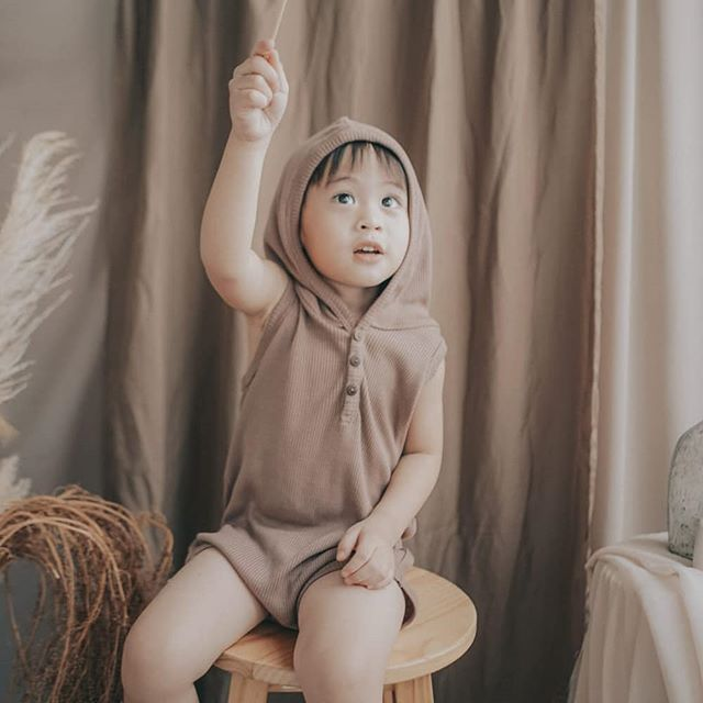 Newborn Baby Girls Boys Ribbed Romper,  Infant Sleeveless Button Closure Hooded Playsuit Overall One Piece Summer 2021