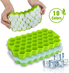 SILIKOLOVE Honeycomb Ice Cube Trays with Removable Lids Silica Gel Ice Cube Mold BPA Free