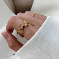 srcoi fashion metal small beads daisy open ring gold color retro french lace rhinestone adjustable ring female jewelry wedding