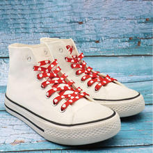 1Pair Red White Heart Print Flat Shoelaces Boot Laces Heat Shoe Accessories For Woman Flats Sneakers