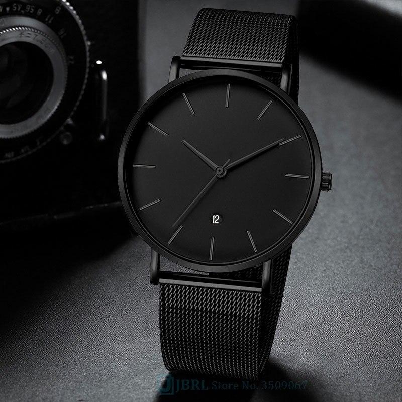 Reloj de lujo para hombre, de malla de acero inoxidable para negocios con calendario, reloj de pulsera de cuarzo, reloj masculino, reloj masculino
