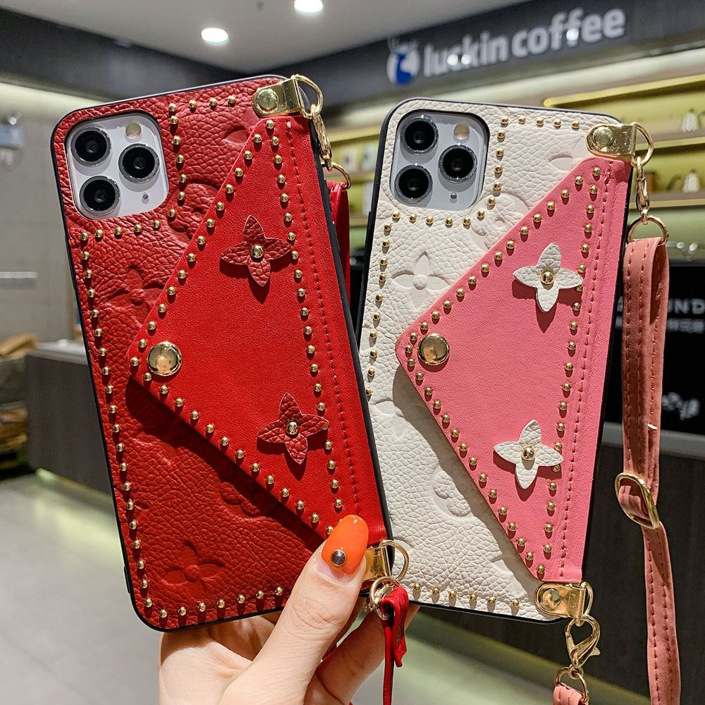 PINZHENG Leather Phone Case For iPhone 7 8 Plus X XR XS 11 12 Pro Max 12mini Cases Soft Strap Card P