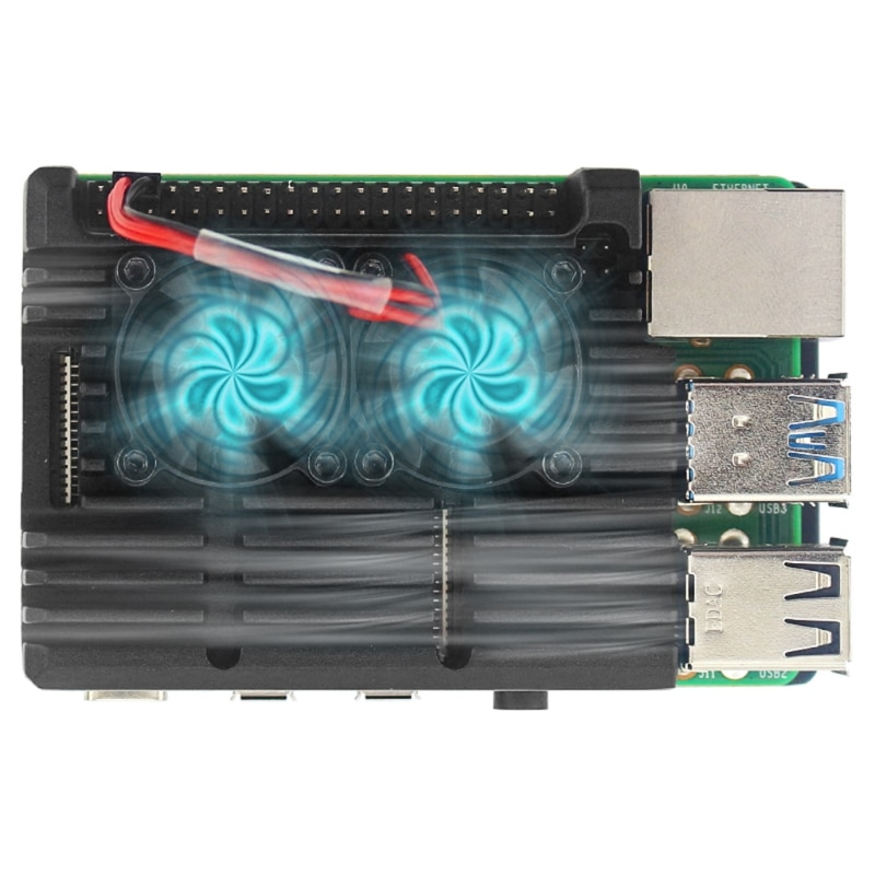 Aluminum Alloy Case with 2 Cooling Fan Compatible For Raspberry Pi 4 T21A