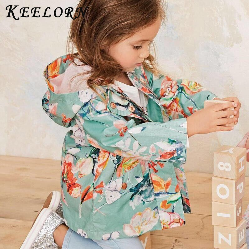 Keelorn Spring Spring Girls Casual Jackets Hooded Outerwear Printing Flower Floral Windbreaker Children Clothing Cute Girls Coat