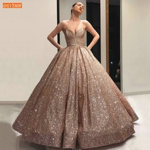 Sparkly Arabic Rose Gold Evening Dresses Long 2020 Sweetheart Ball Gown Women Gala Formal Dress Saudi Arabia Dubai Evening Gowns