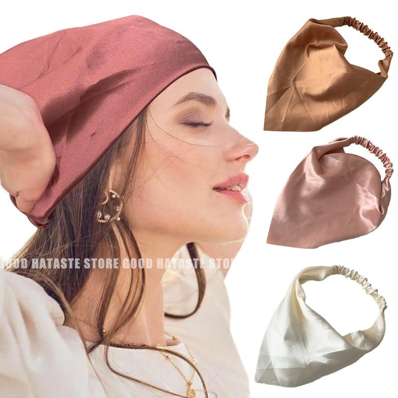 Fashion Women Satin Triangle Bandanas Printing Headbands for Lady Girls Headband Elastic Hair Bands Scarfs Accessories Gifits