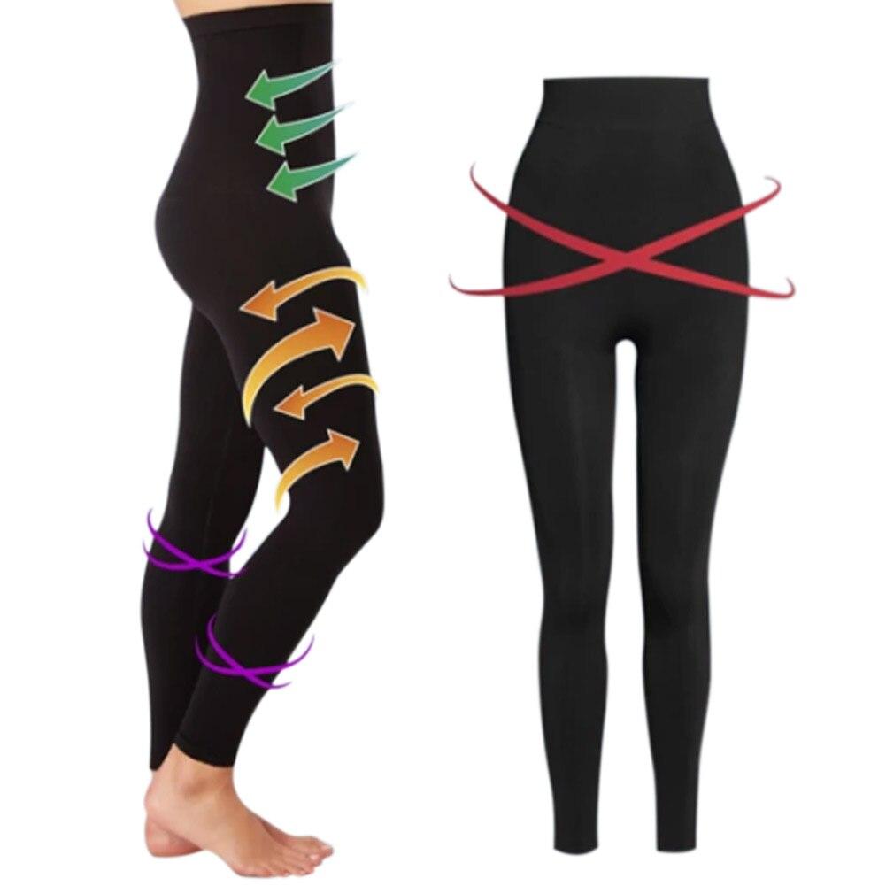 Women Slimming Legging High Waist Trainer Modeling Body Shaper Elastic Tight Slim Leg Tummy Control Panties Trouser Black M/L