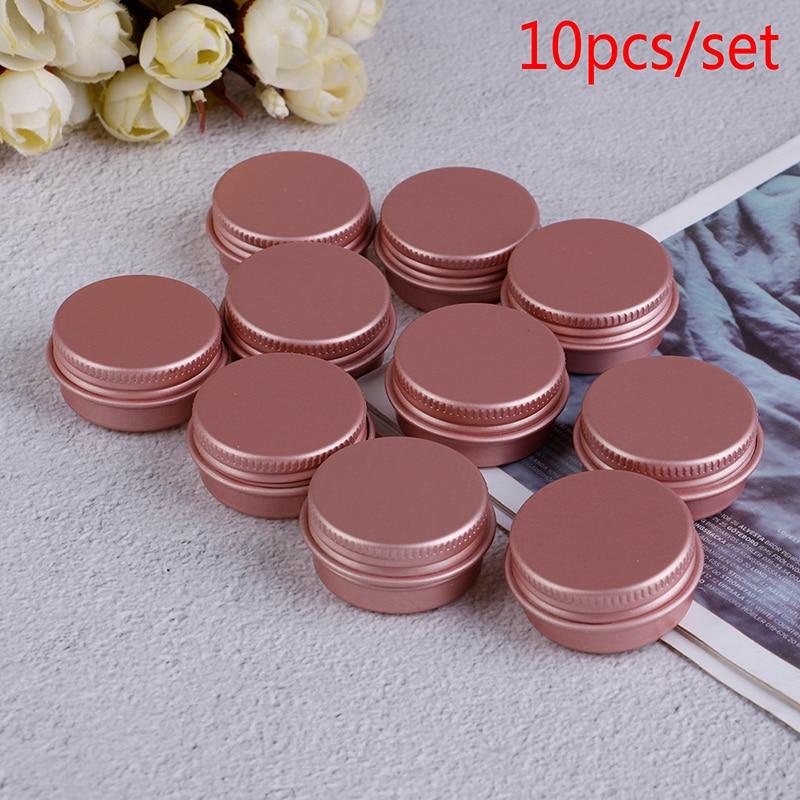 10ps 10ML crema de ojos acondicionador de cabello estaño cosmético Metal 10g Rosa vacío tarro de aluminio frascos cosméticos con tapa