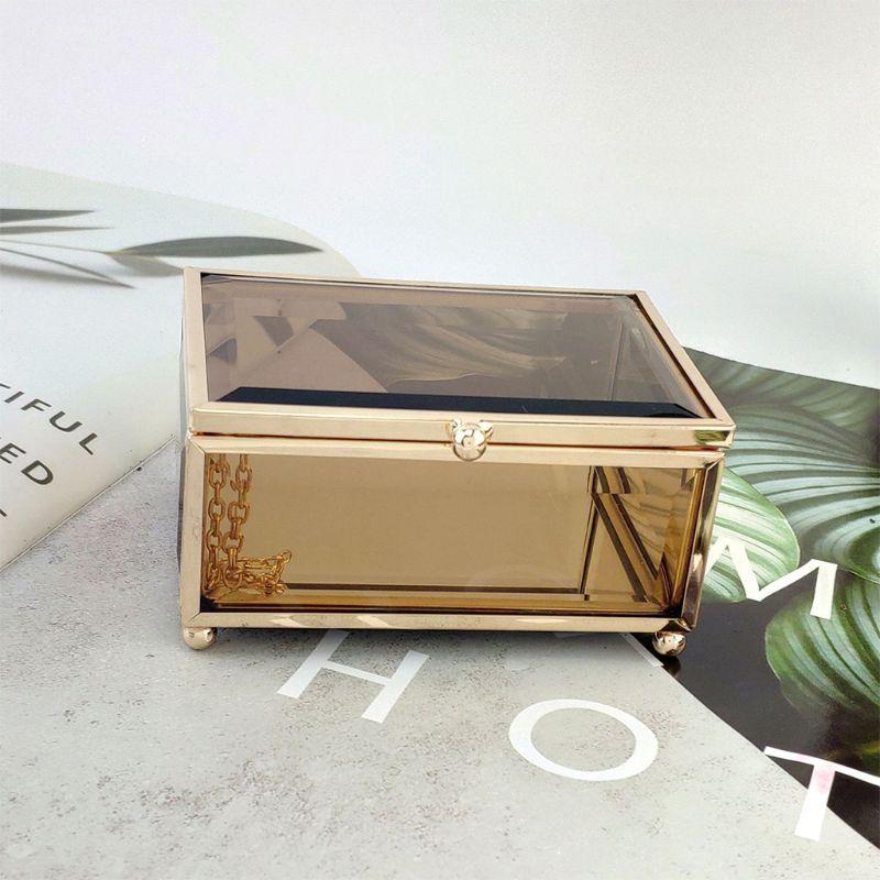 Geométrico ouro caixa de jóias de vidro jóias organizar titular plantas recipiente x4yd