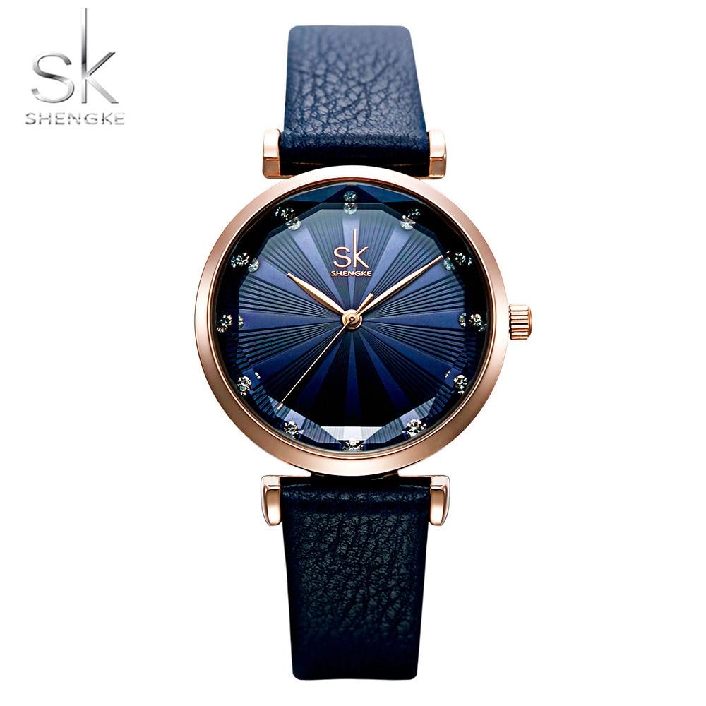Shengke New Brand Women Watches Lady Simple Dial Leather Belt Watch Diamond Quartz Clock Relogio Feminino Reloj Mujer