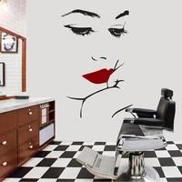 fashion girl face beauty salon wall decals lips hand vinyl interior design wall sticker cosmetics shop decoration murals a612