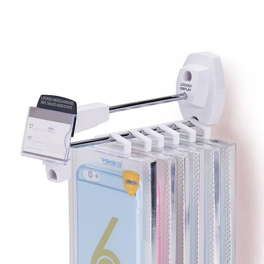 (100 Pieces/Lot) Smartphone Brand Retail Wall Mounted Parts Safe Exhibition 18CM Length Slot Board Security Display Hook