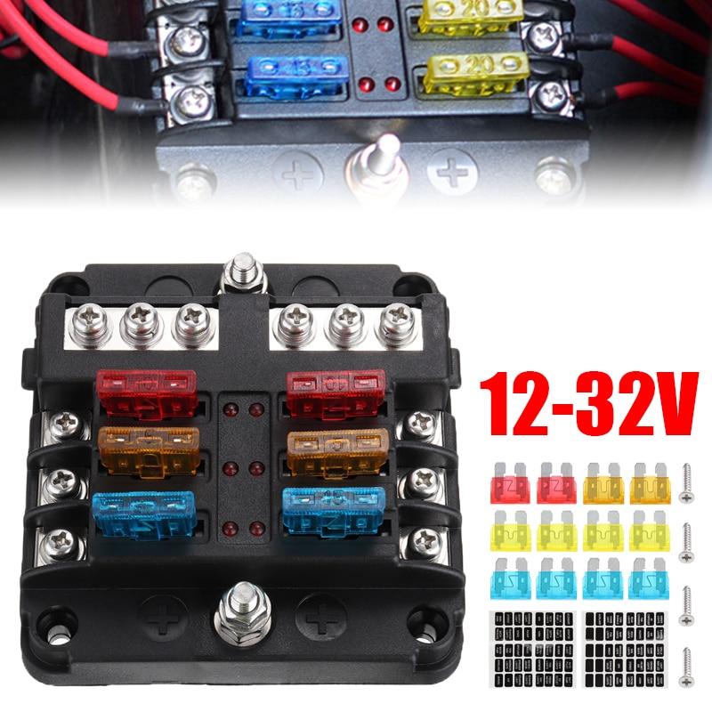 6 vías 12 V-32 V Auto coche Power Blade fusibles caja soporte Kit con indicador LED 16 Uds fusible 40 Uds pegatina