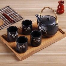 Frosted matte black ceramic tea set herbal tea pot cup cold water pot antique Japanese Kungfu teapot teacup bamboo tray teaware