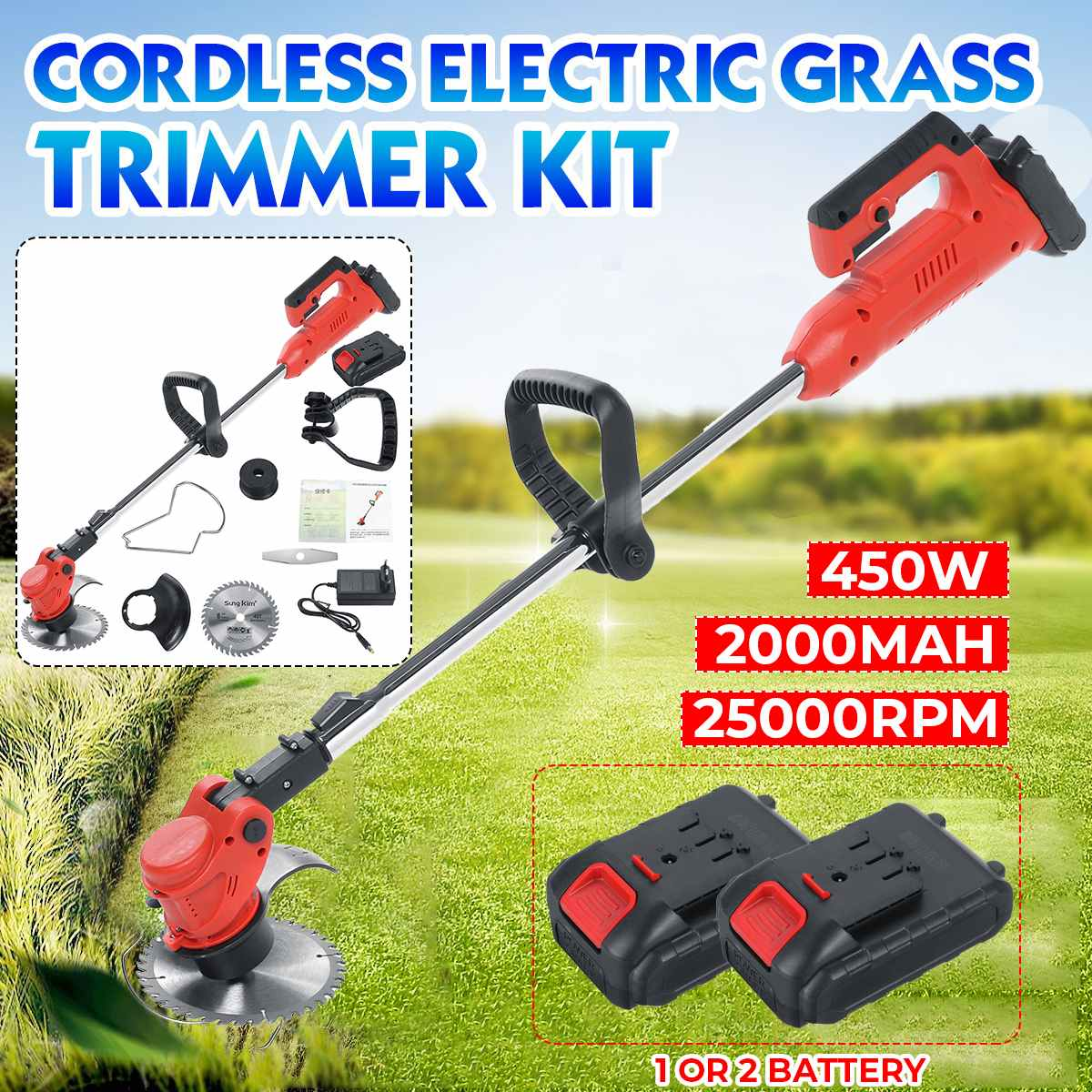 25000 RPM Electric Grass Trimmer Powerful Trimmers Brush Cutter Lawn Mower Cordless Cutting Machine Garden Tools with 2 Battery