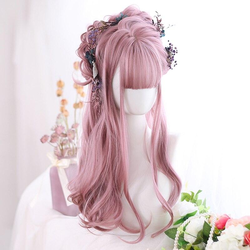 شعر مستعار نسائي صناعي طويل مموج موضة شعر هوائي وردي أرجواني يومي لوليتا شعر مستعار مقاوم للحرارة