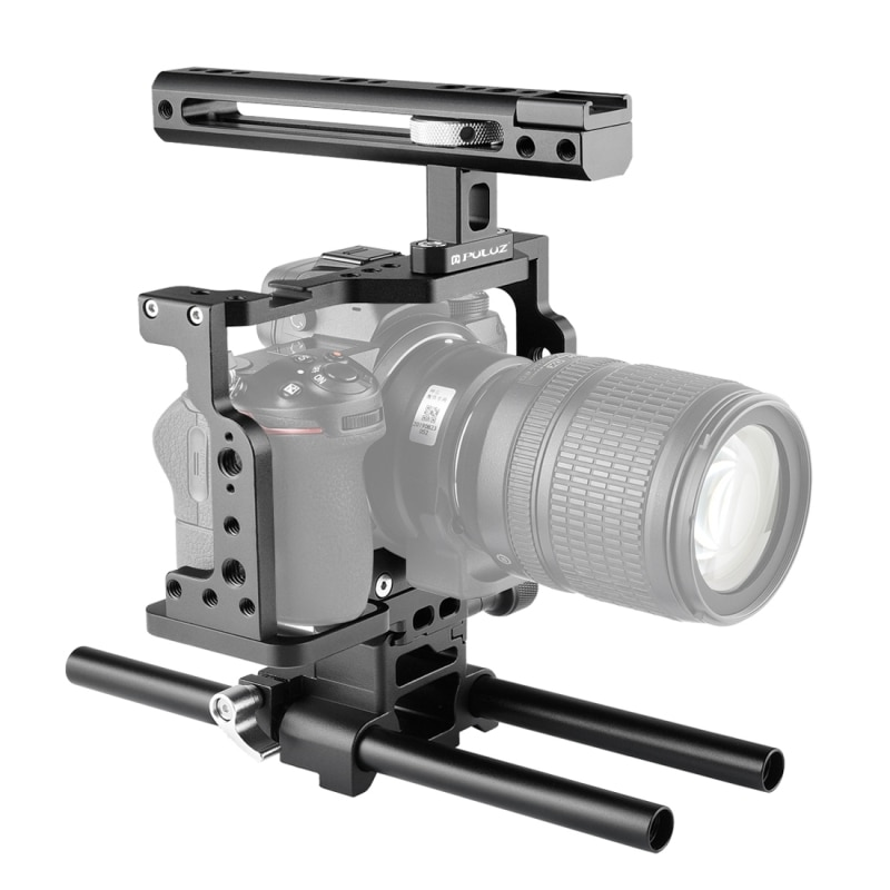 بولوز فيديو هيكل قفصي الشكل للكاميرا مثبت مع مقبض وقضيب السكك الحديدية لنيكون Z6 / Z7 (أسود)
