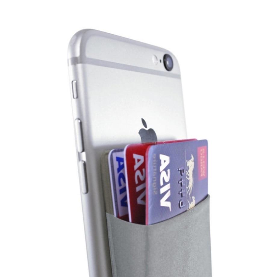 2019 de moda de Lycra elástica adhesiva teléfono celular ID tarjeta de crédito titular mujer etiqueta engomada bolsillo cartera tarjeta titular de la tarjeta # F