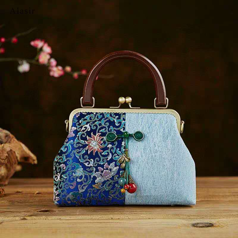 Bolso estilo étnico Alasir con diseño de telas combinadas, bolso Cheongsam con mango de madera, bolso de hombro para mujer de estilo chino, bolso de Material DIY