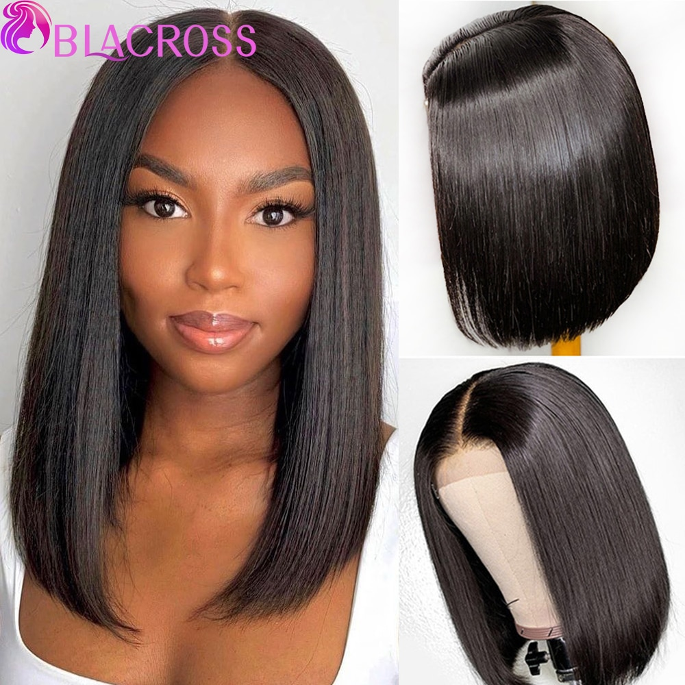 BLACROSS Bone Straight Lace Front Wig 4X4 Bone Straight  Colored Human Hair Frontal Wigs For Women perruque bresillienne