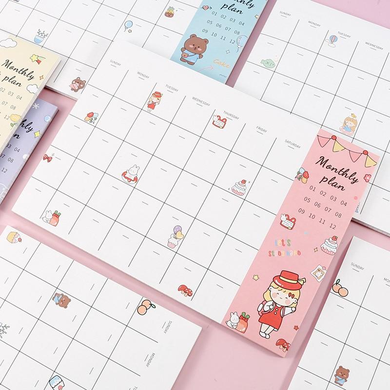 48 страниц Корейский простой Ежемесячный план Блокнот для записей школьные принадлежности B5 график студенческие офисные канцелярские прин...