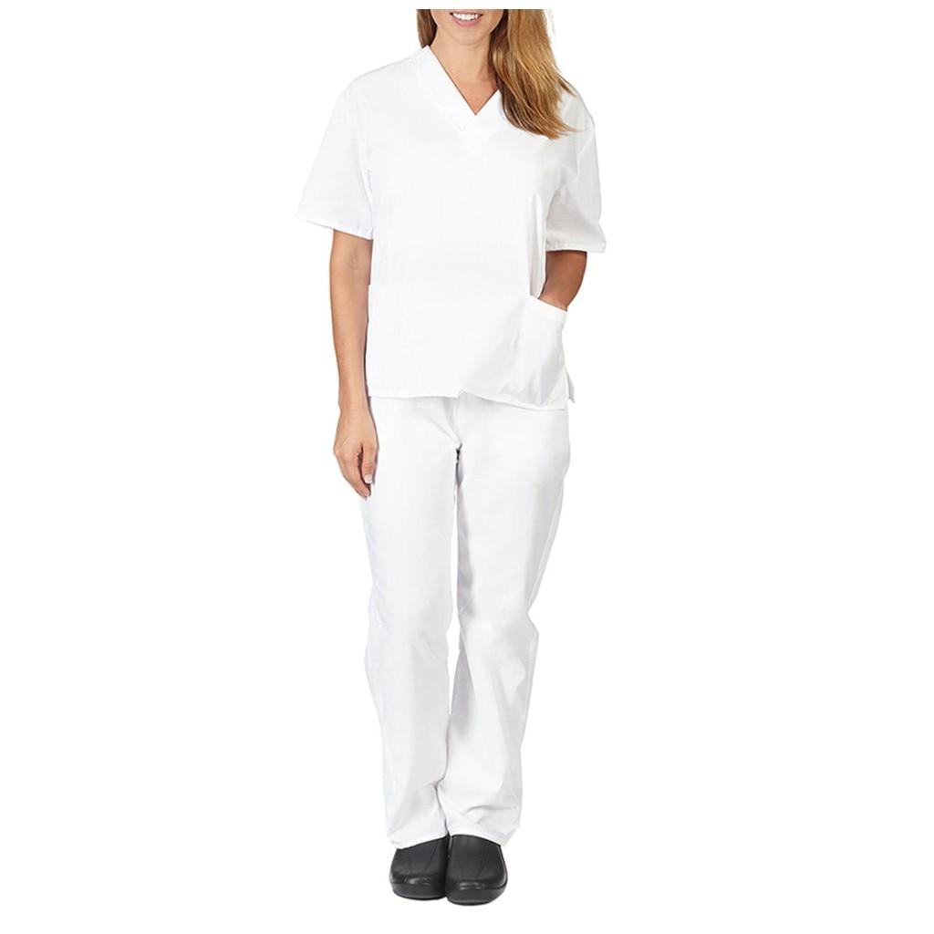 Enfermera cuidador traje de trabajador conjunto de dos piezas para mujeres hombres y mujeres de manga corta tops con cuello en V + Pantalones de uniforme de trabajo conjunto traje