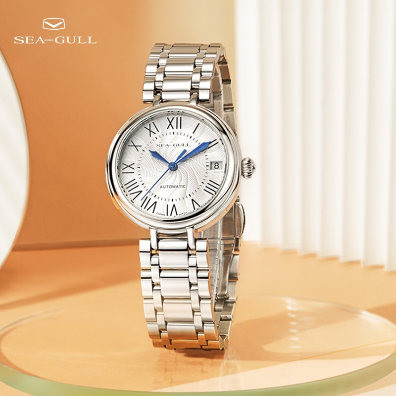 Seagull ladies watch fashion diamond steel belt calendar automatic mechanical watch female watch waterproof watch 716.417L